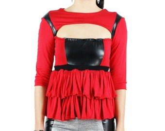 Women's Reyna Black and Red 3/4 length sleeve Liquid Style line cut peplum Top- Size Small