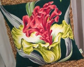 "Tropical Floral Vintage Barkcloth Pillow Cover - One-of-a-Kind - Bold Pinks, Greens, Dk Green - 17"" x 17"""