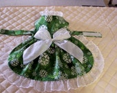 SALE Med. Christmas Dog Dress Green Glitter Snowflakes Pets Clothing