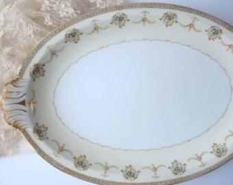 Large Vintage Meito Vivian Pink Floral Serving Platter