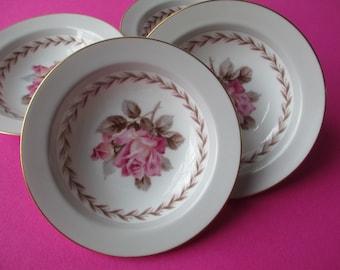 Vintage Noritake Dessert Bowls Rosemont Pink Gray Set of Four