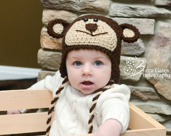 Boutique Crochet Monkey Hat newborn-24 month boy girl