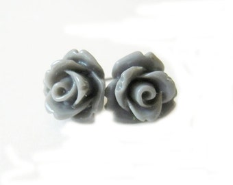 Gray Rose Stud Earrings- Surgical Steel or Titanium Post Earrings- 10mmBlack Friday Sale 20% Off