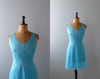 Vintage slip dress. 1960s peignoir. deadstock azure slip dress. negligee. lingerie