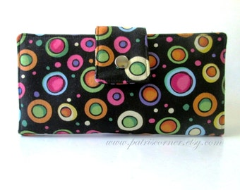 Handmade black wallet clutch fun dots, bright and bold colors - ready to ship - wallet for women