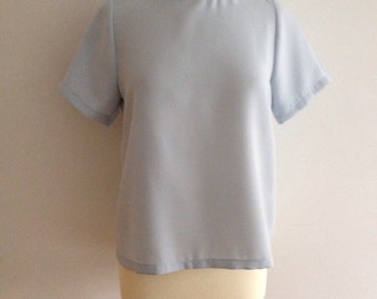 90s pastel blue minimalist polo top (s)