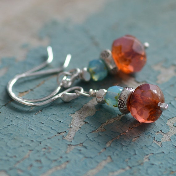Sterling Silver Earrings Hill Tribe Silver Jewelry Teal Blue Coral Pink Opal Glass Cottage Chic Jewelry Under 30