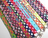Design Your Own Michael Miller Ta Dot – Personalized Lanyard – ID Badge Holder – Monogrammed – Key Strap - Polka Dots