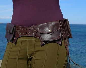 """Leather Utility Hip Belt _""""LAWAH.Br""""_ High Quality Handmade Designer Pocket Belt Bag 4 Gypsy/Nomad/Urban Lifestyle [Festival.Travel.Concert]"""