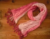long cotton scarf, pink red, handmade crochet edging