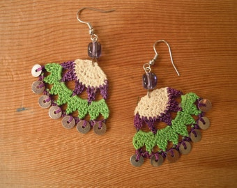 crochet earings, green purple cream