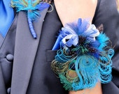 Prom Corsage Wristlet and Boutonniere set to match with Peacock and coordinating Feathers or Flowers