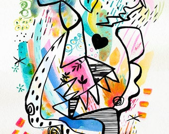 Mon Ouistiti,Bright abstract shapes print