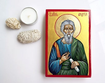 Saint Andrew,  St Andreas - handpainted icon, Orthodox Christian style- 6 by 4 inches