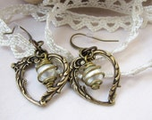 Heart Earrings - Romantic Heart Earrings - Vintage Inspired Heart Earrings - Pretty Heart Earrings with Pearl Dangle
