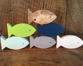 Set of 6 Wooden Fish