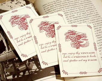 Drink & Read Safely - WINE LOVER - Letterpress Bookplates - Set of 25