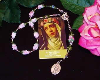 Traditional Catholic Chaplet of St. Rose of Lima - Patron Saint of Needle Workers, Florists, Gardeners and  Against Vanity