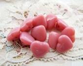 Vintage Opaque Pink Moonstone Czech Glass Heart Buttons 11mm
