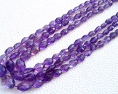 Full 15 Inch Strand, Natural-Finest Quality, PURPLE Amethyst Faceted Oval Nuggets Briolettes,8-12mm aprx.Super,Very Fine