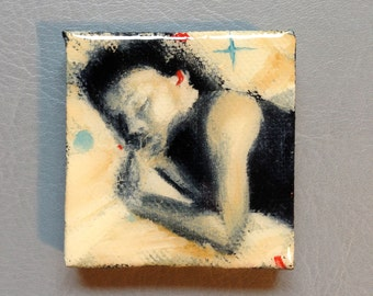 Nap time girl original mini oil painting on canvas encased in resin