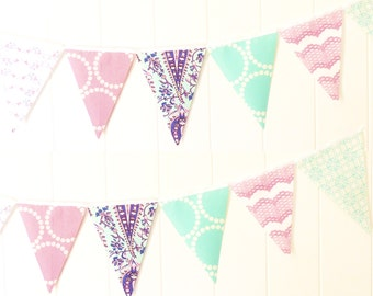 Banner, Fabric Bunting,  Fabric Pennant Flags, Garland Birthday, Wedding, Photo Prop, Baby Shower, Girl Nursery, Purple, Aqua, Paisley