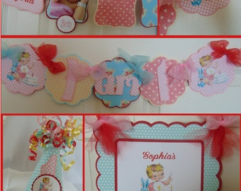 Girls Vintage 1st Birthday Petite Party Package  vintage 1st Birthday- shabby chic party decorations-vintage banner-girl birthday