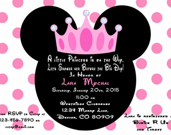 Printable PDF Minnie Mouse Princess Baby Shower Invitation