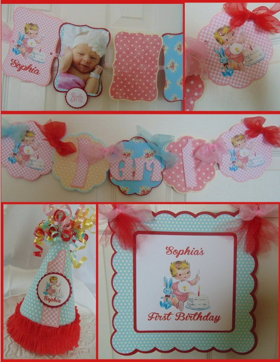 Girls vintage 1st birthday petite party package vintage for 1st birthday decoration packages