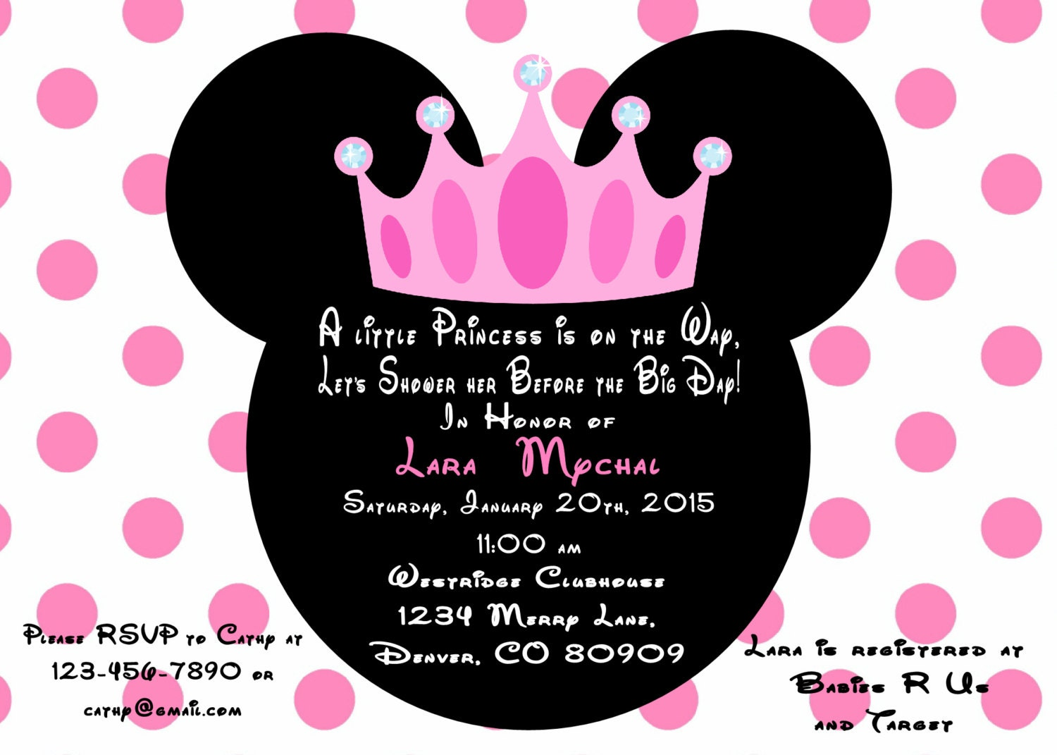 Minnie Mouse Princess Baby Shower Invitation Printed With Minnie Mouse Princess Printable
