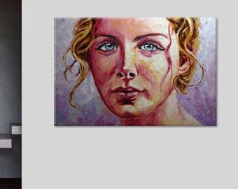 """Elena Portrait figure face woman palette knife oil painting  on canvas 60""""x40"""""""