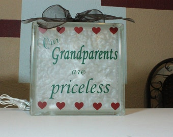 Grandparents DIY decal for glass block