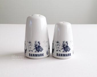 Vintage Danmark Folklore White Blue Salt Pepper Shakers