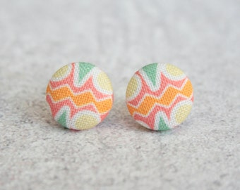 Summer Sunset, Fabric Covered Button Earrings
