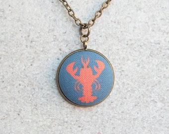 Lobster, Fabric Button Pendant Necklace