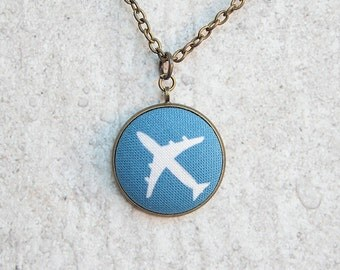 Airplane, Fabric Button Pendant Necklace
