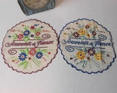 "Vintage French Embroidered Doilies WWII SOUVENIR FRANCE 7.5"" Round 1940's French Doily Embroidery Flowers Paris Cottage Chic"