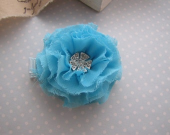 Shabby Glamour . clippie . chiffon flower . toddler hair accessory . turquoise