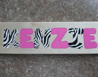 Wooden Custom Name Puzzle - any name Custom Artist Painting of 4 letters