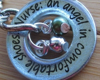 Nurse: an angel in comfortable shoes...13/16 inch silver washer nurse appreciation pendant with chain
