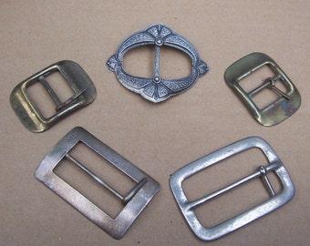 Destash upcycle recycle repurpose 5 Art Nouveau buckle Art Deco buckle metal belt buckles or buckle parts (AW)