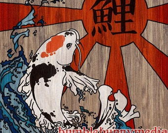 Tancho Koi Digital Art Print