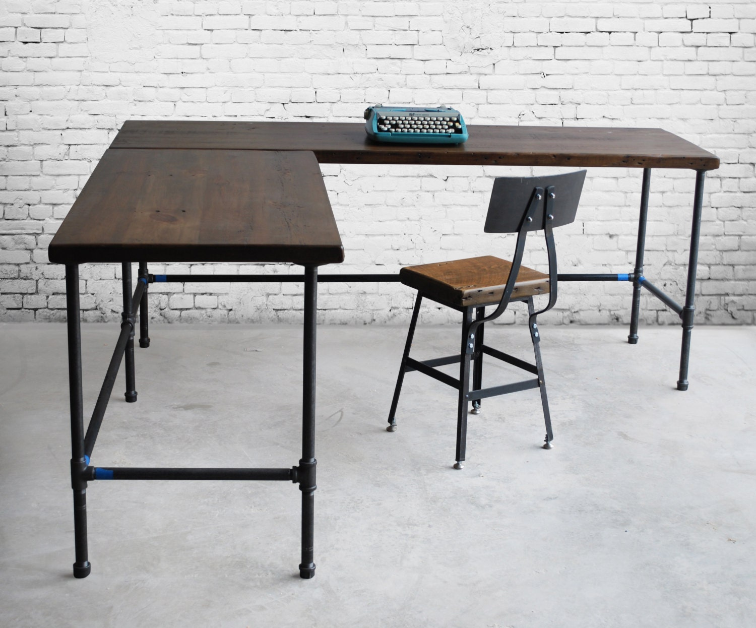Shape Desk. Reclaimed Wood. Made To Order In By UrbanWoodGoods. Full resolution‎  portrait, nominally Width 1500 Height 1246 pixels, portrait with #46606B.