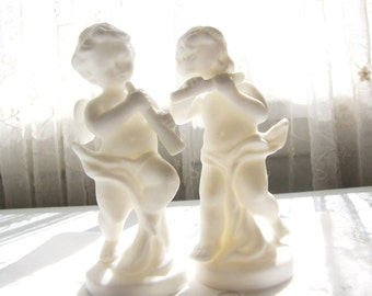 Vintage Angels Cherubs Bisque Figurine Pair Two from AllieEtCie