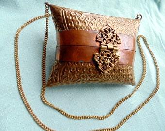 METAL HANDBAG. Disco Purse. Pillow Handbag. Ornate Handbag. Copper / Brass Purse. INDIA. small metal case. 1970s accessories. gift idea