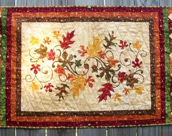 Fall Table Runner Wall Hanging Quilted A New Leaf Autumn Quiltsy Handmade FREE U.S. Shipping