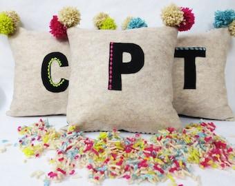 Felt Initial / Letter, Applique Pillow with Bright Pom Pom Tassel Details