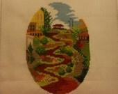 vintage finished stitchery, Lombard Street, San Francisco, unframed, 5 by 7 1/2 inches oval.