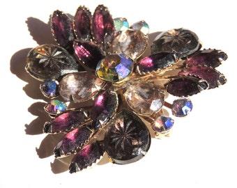 Purple Vintage Rhinestone Brooch Pin, Lavender Large Vintage Jewelry