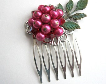 Dark pink floral hair comb, vintage earring hair comb, bride, bridesmaid, flower girl, mother, verdigris leaves, woodland, barn, country